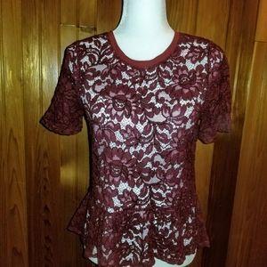 Ann Taylor LOFT Maroon Floral Knit Lace Top. Sz. S